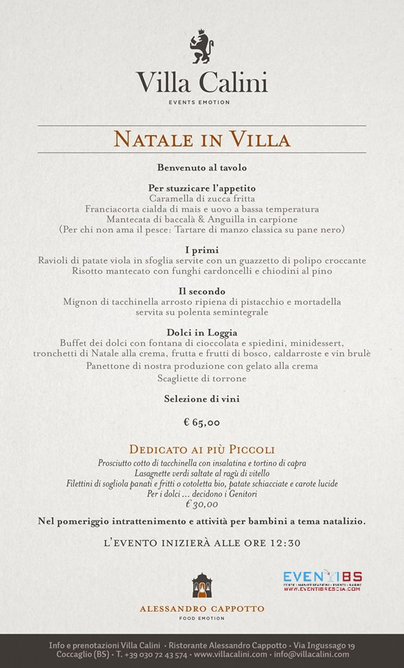 villa calini menu